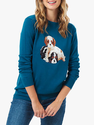 Buy Sugarhill Brighton Rita King Charles Dog Knitted Jumper, Teal, 14 Online at johnlewis.com