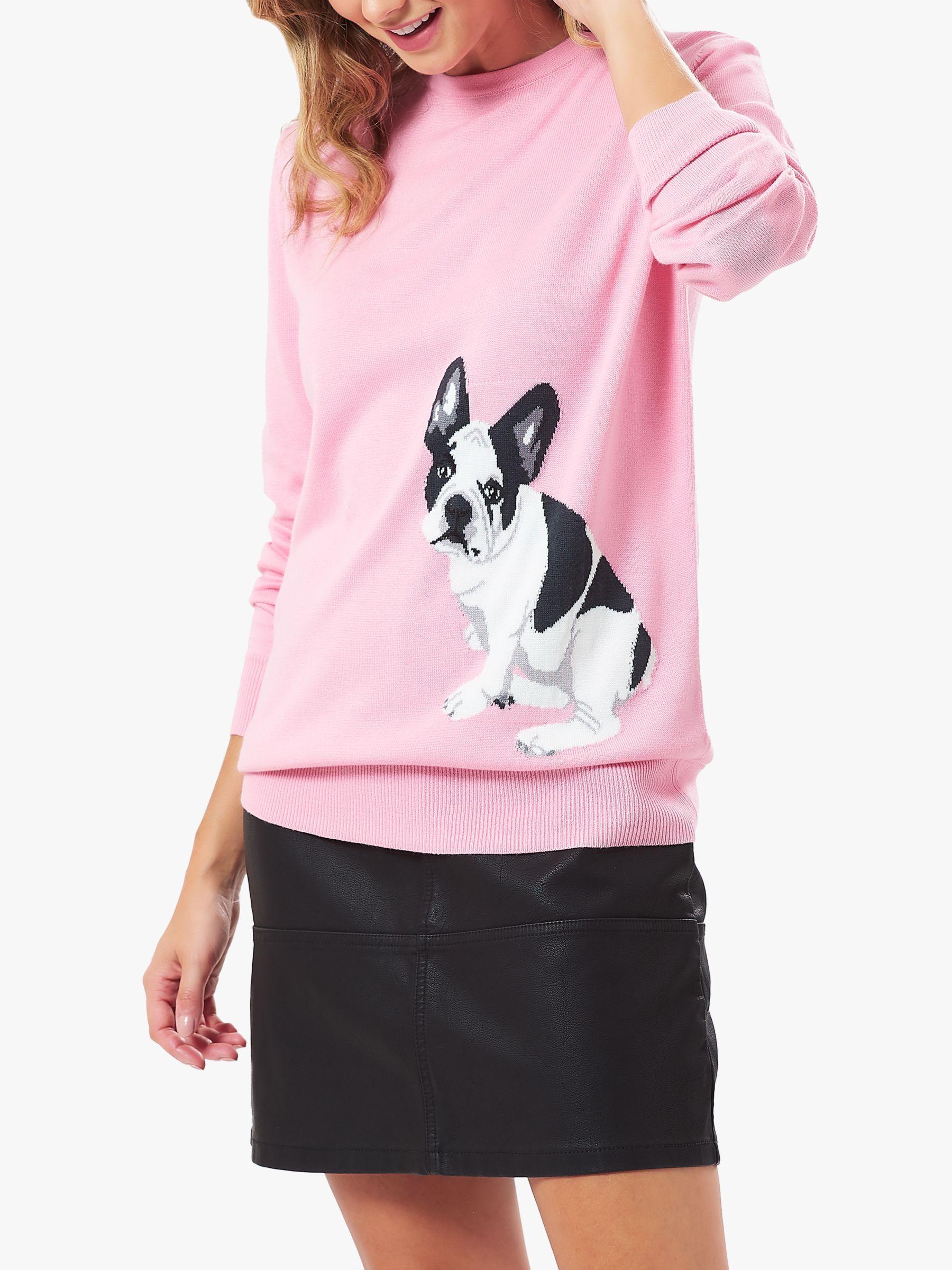 French Bulldog Christmas Jumper.Sugarhill Brighton Rita French Bulldog Knitted Jumper Pink