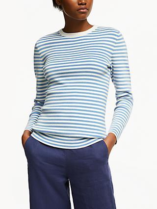971e8e0865f John Lewis & Partners Stripe Crew Neck Sweater, Ultramarine Blue/White
