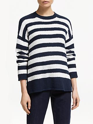 John Lewis & Partners Boucle Boat Neck Stripe Jumper
