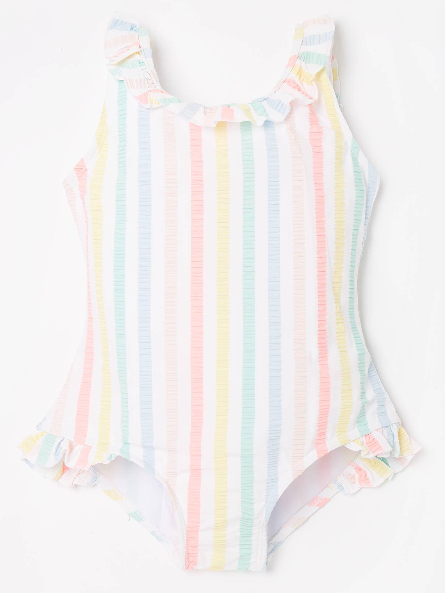 df72382e03 Buy John Lewis & Partners Girls' Rainbow Seersucker Stripe Swimsuit, Multi,  7 years ...