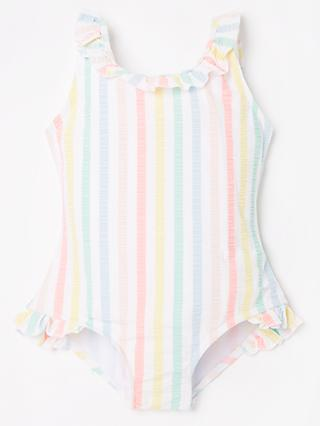 John Lewis & Partners Girls' Rainbow Seersucker Stripe Swimsuit, Multi
