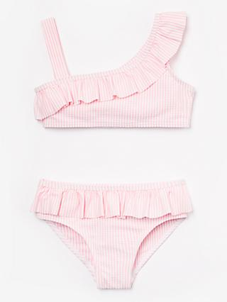 John Lewis & Partners Girls' Seersucker Stripe Bikini, Pink
