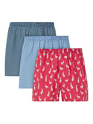 John Lewis & Partners Hare Print Cotton Boxers, Pack of 3, Multi