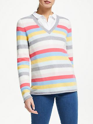 Collection WEEKEND by John Lewis V-Neck Cashmere Stripe Jumper, Multi