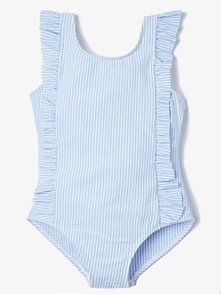 d9ebd10af0 John Lewis & Partners Girls' Seersucker Stripe Ruffle Swimsuit, ...