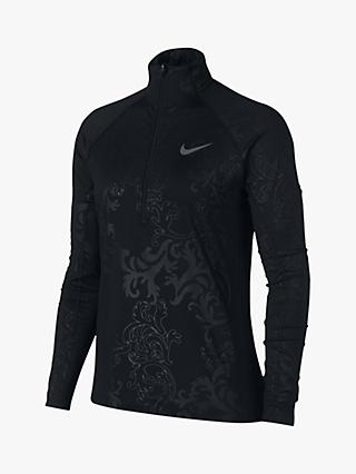 Nike Pro Warm 1/2 Zip Long Sleeve Training Top, Black/Dark Grey
