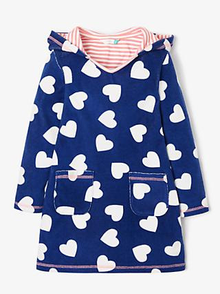 John Lewis & Partners Girls' Hearts Towel Dress, Blue