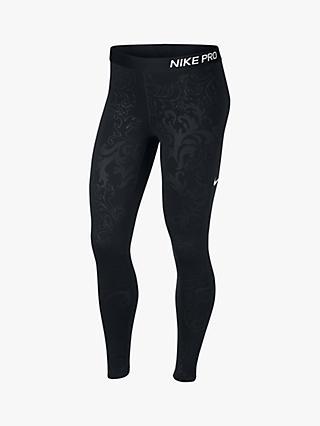 5bda1682c2e080 Nike Pro Warm Royal Print Training Tights, Black/Dark Grey