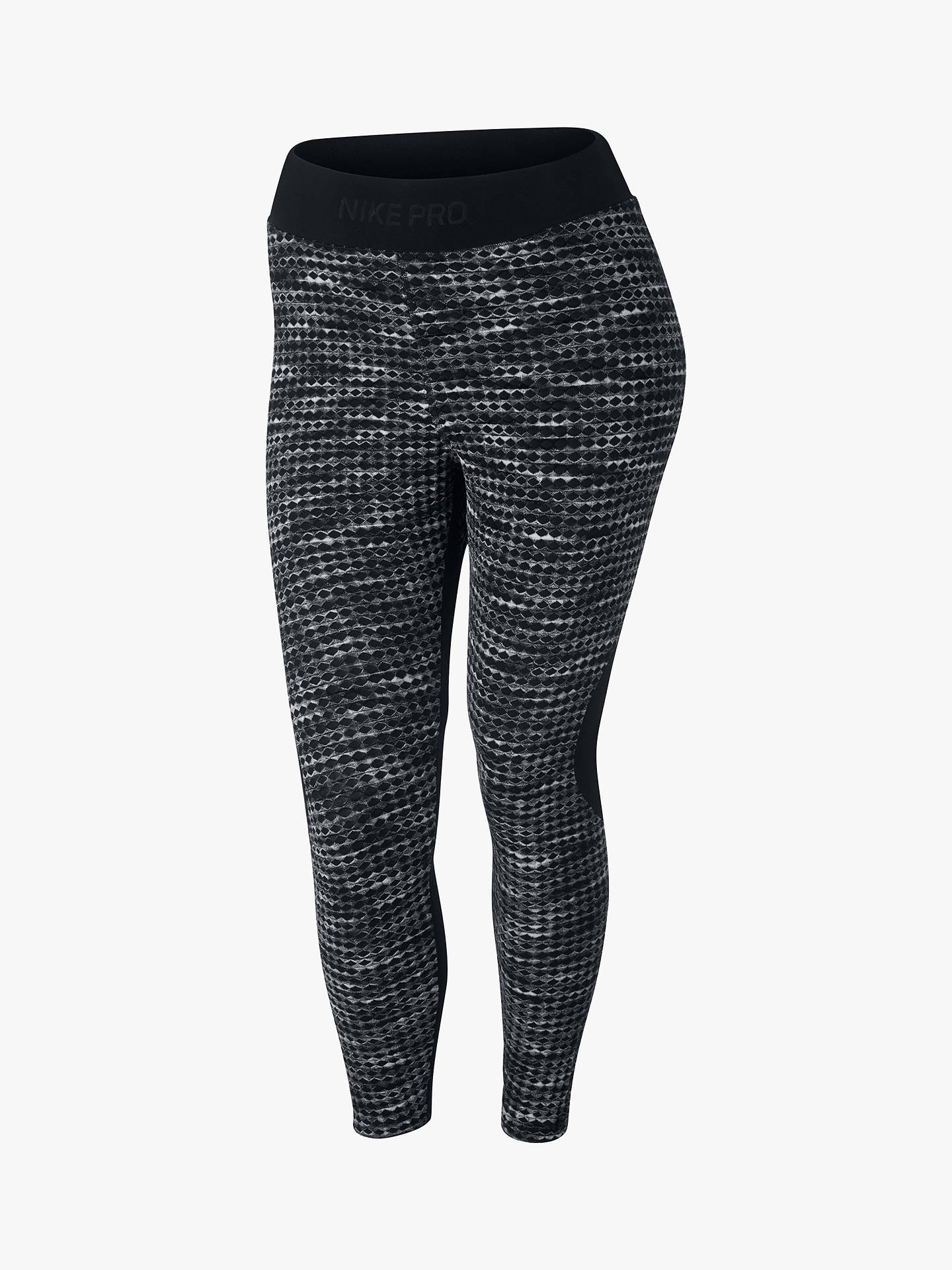 ae95395556dfa Buy Nike Pro HyperWarm Printed Crop Tights, Black, XS Online at  johnlewis.com ...