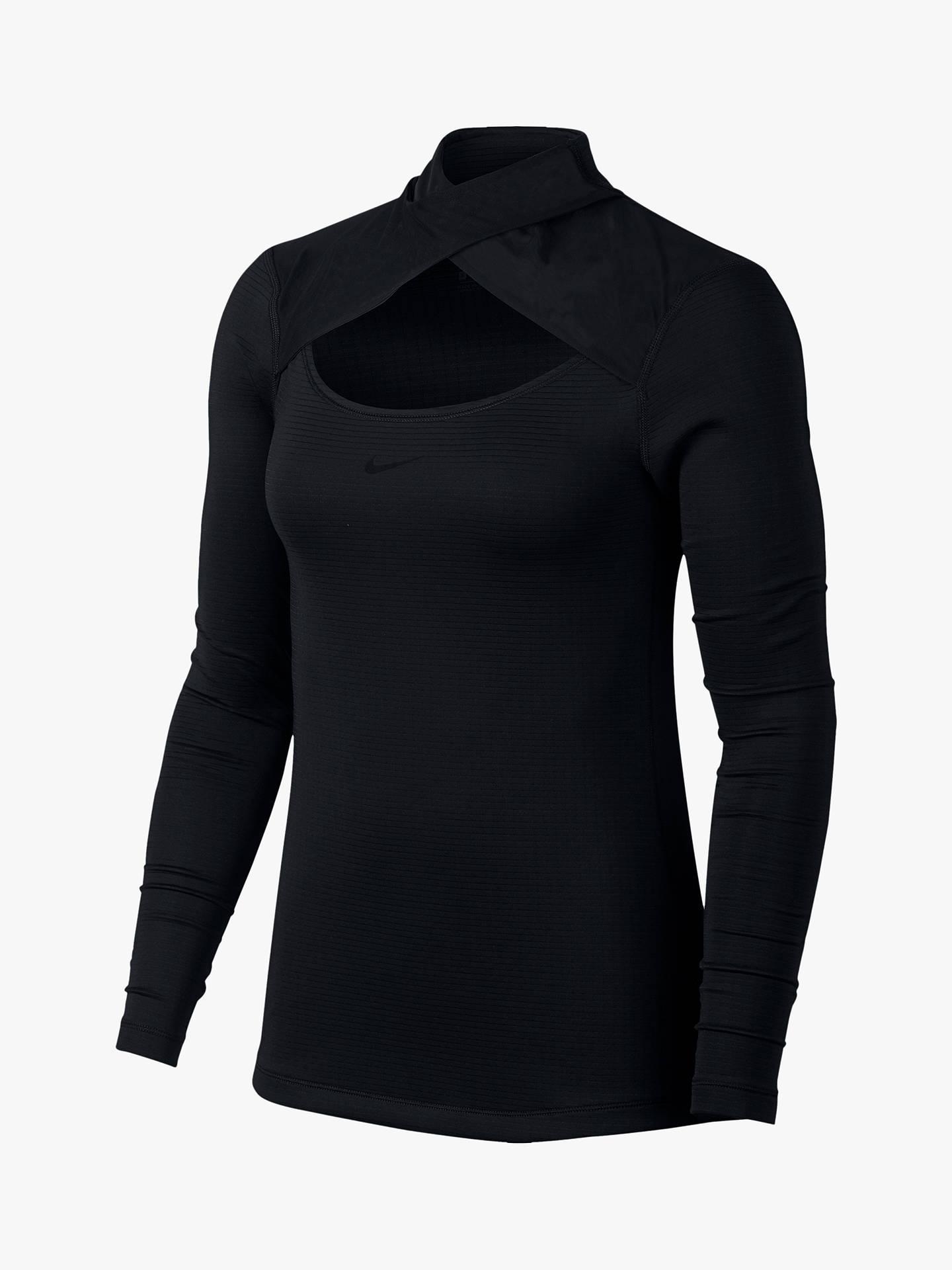 3922f3b1 Buy Nike Pro Warm Mesh Long Sleeve Top, Black, XS Online at johnlewis.