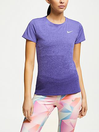 Nike Medalist Short Sleeve Running Top, Rush Violet/Regency Purple