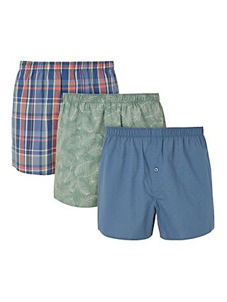 John Lewis & Partners Sierra Leaf Pattern Boxers, Pack of 3, Green/Blue/Red,