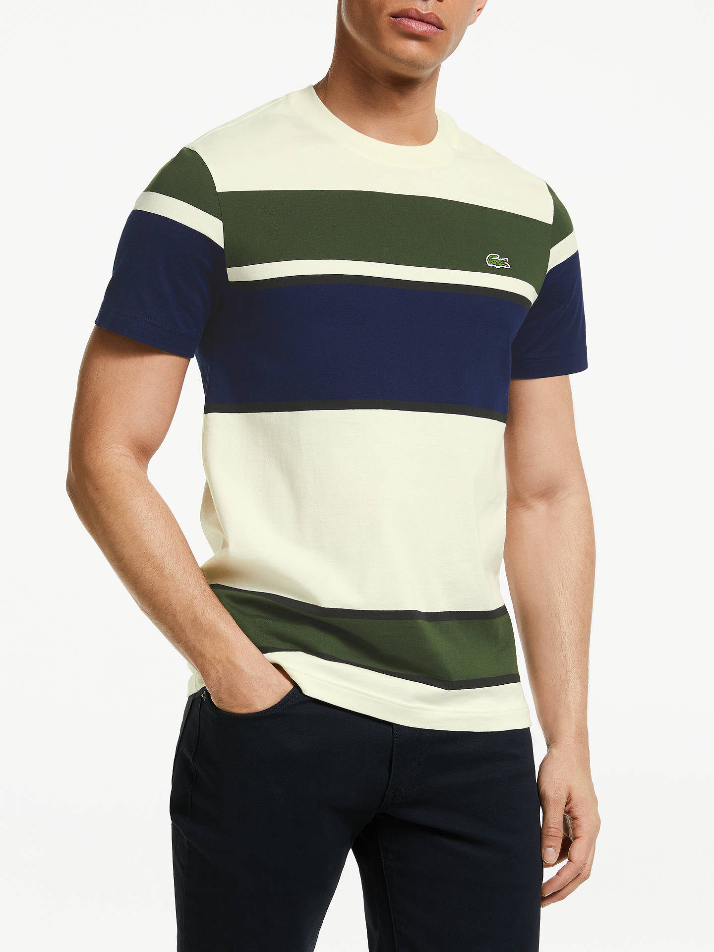 lacoste colour block short sleeve t shirt creme at john. Black Bedroom Furniture Sets. Home Design Ideas