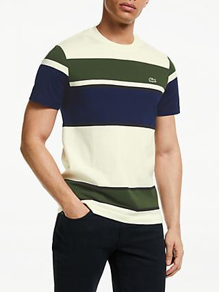 5cdfad9a Lacoste Colour Block Short Sleeve T-Shirt, Creme