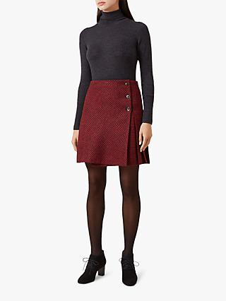 Hobbs Holly Wool Skirt, Red Charcoal