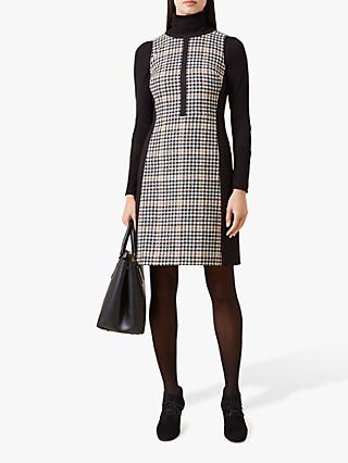 Hobbs Joy Check Panel Funnel Neck Wool Dress, Black/Camel