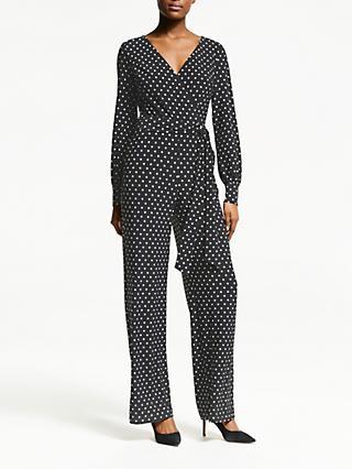 Lauren Ralph Lauren Leslie Polka Dot Jumpsuit, Black Lauren White 6829b19ead58