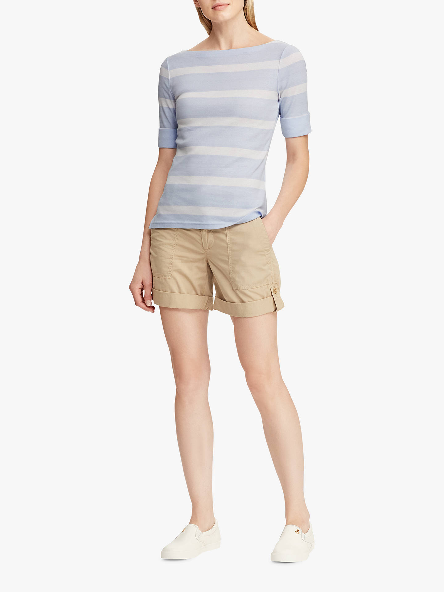 BuyLauren Ralph Lauren Judy Stripe Top, Whisper Blue/White, L Online at johnlewis.com