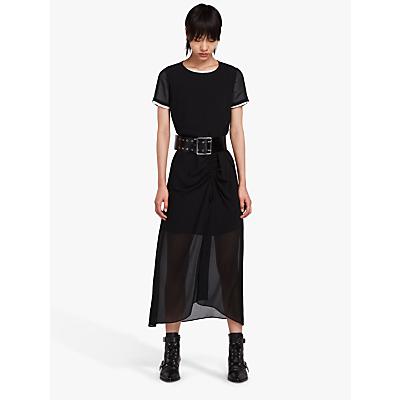 AllSaints Ariya Sheer Ruched Maxi Dress, Black