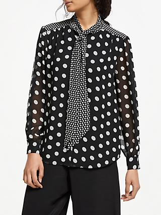Somerset by Alice Temperley Spot Tie Neck Blouse, Black/White