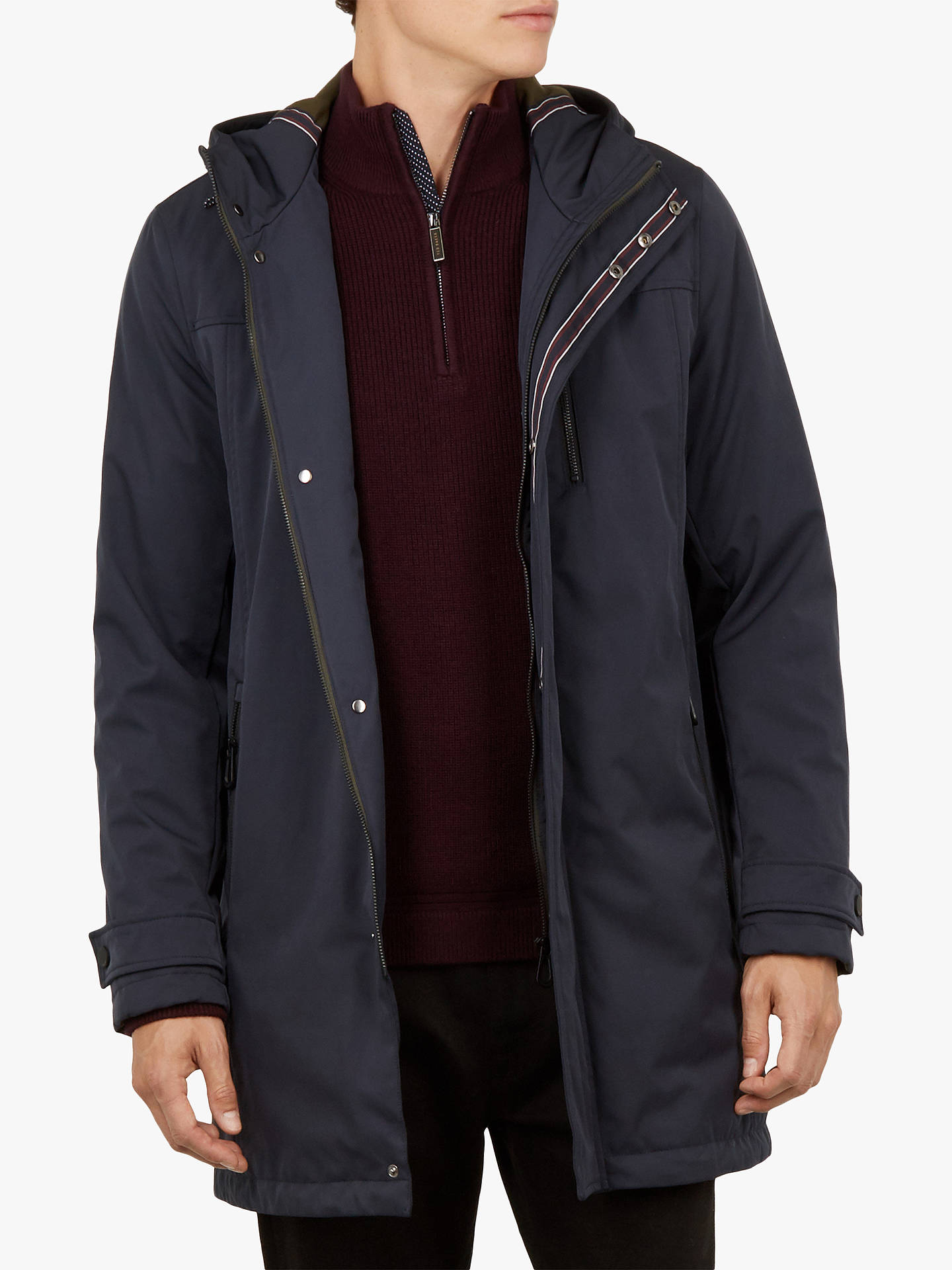 BuyTed Baker Rockfrt Quilted Hooded Parka Coat, Navy, S Online at johnlewis.com