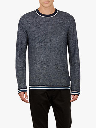 Buy Ted Baker Curlywu Long Sleeve Textured Jumper, Navy Blue, XXXL Online at johnlewis.com
