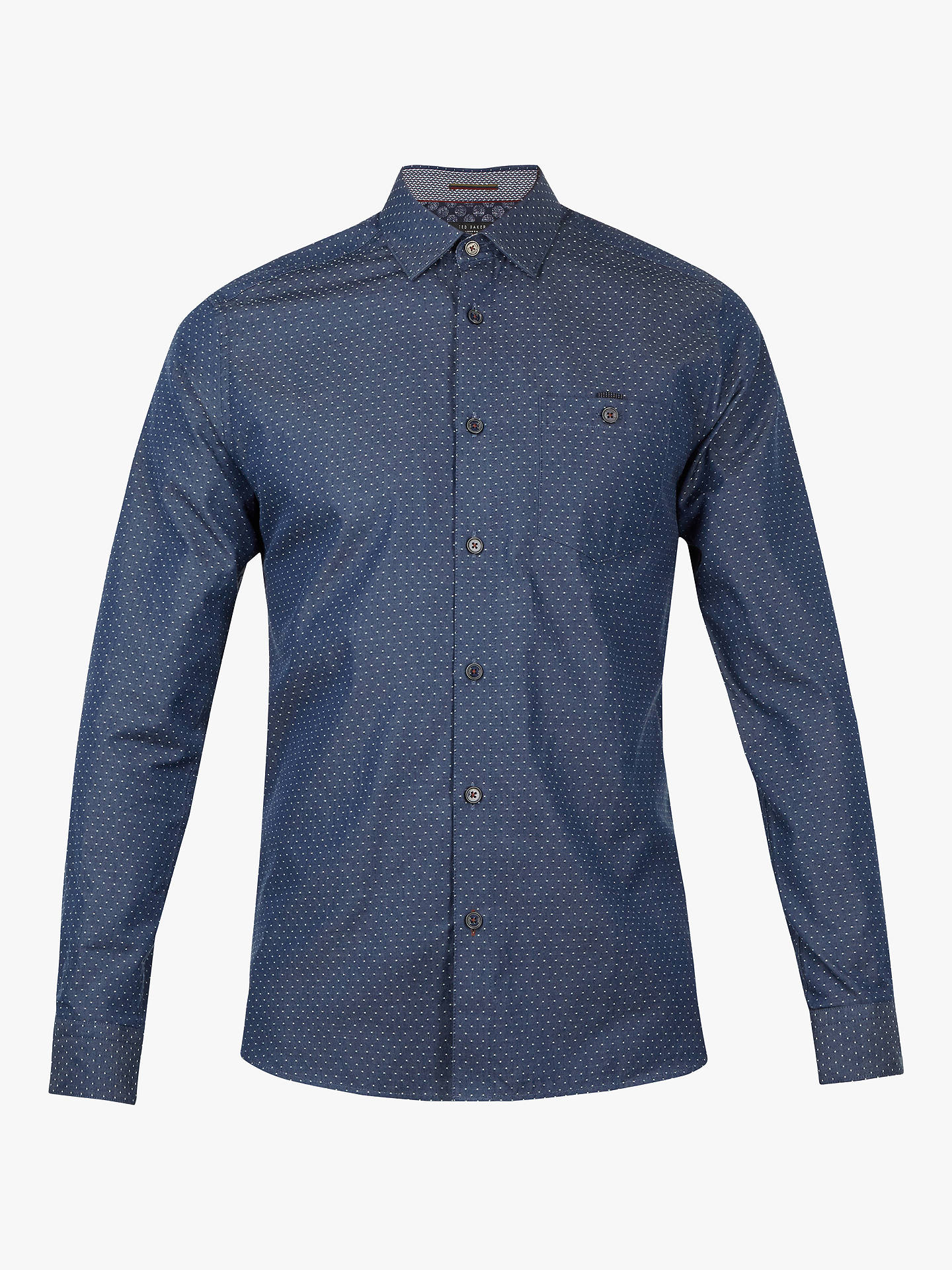 BuyTed Baker Birksey Dot Print Shirt, Navy, 15 Online at johnlewis.com