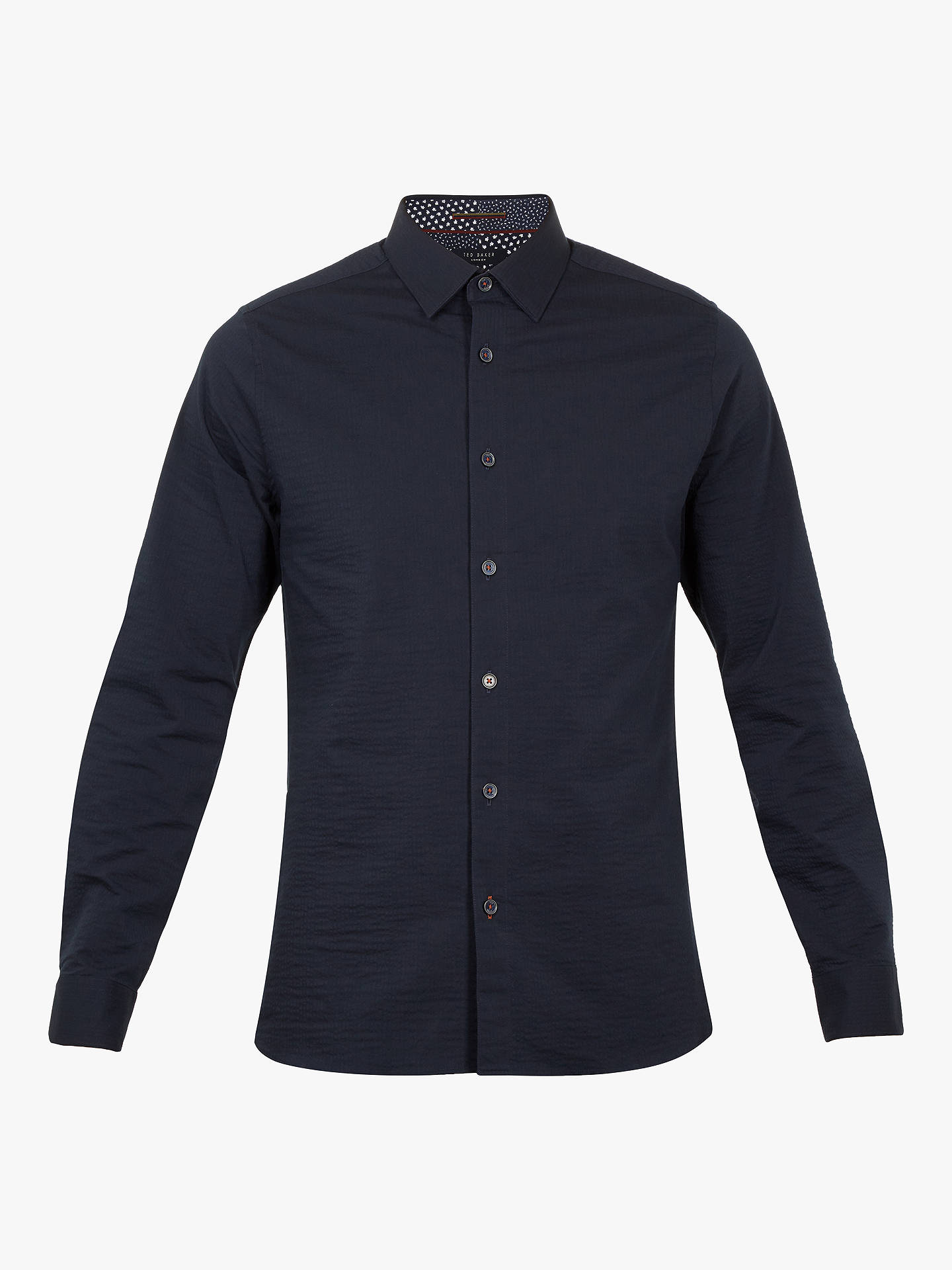BuyTed Baker Padding Long Sleeve Shirt, Navy, 15.5 Online at johnlewis.com