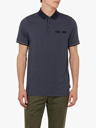 Buy Ted Baker Pezze Short Sleeve Printed Polo Shirt, Navy, L Online at johnlewis.com