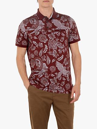 Ted Baker Colabot Floral Print Polo Shirt, Dark Red
