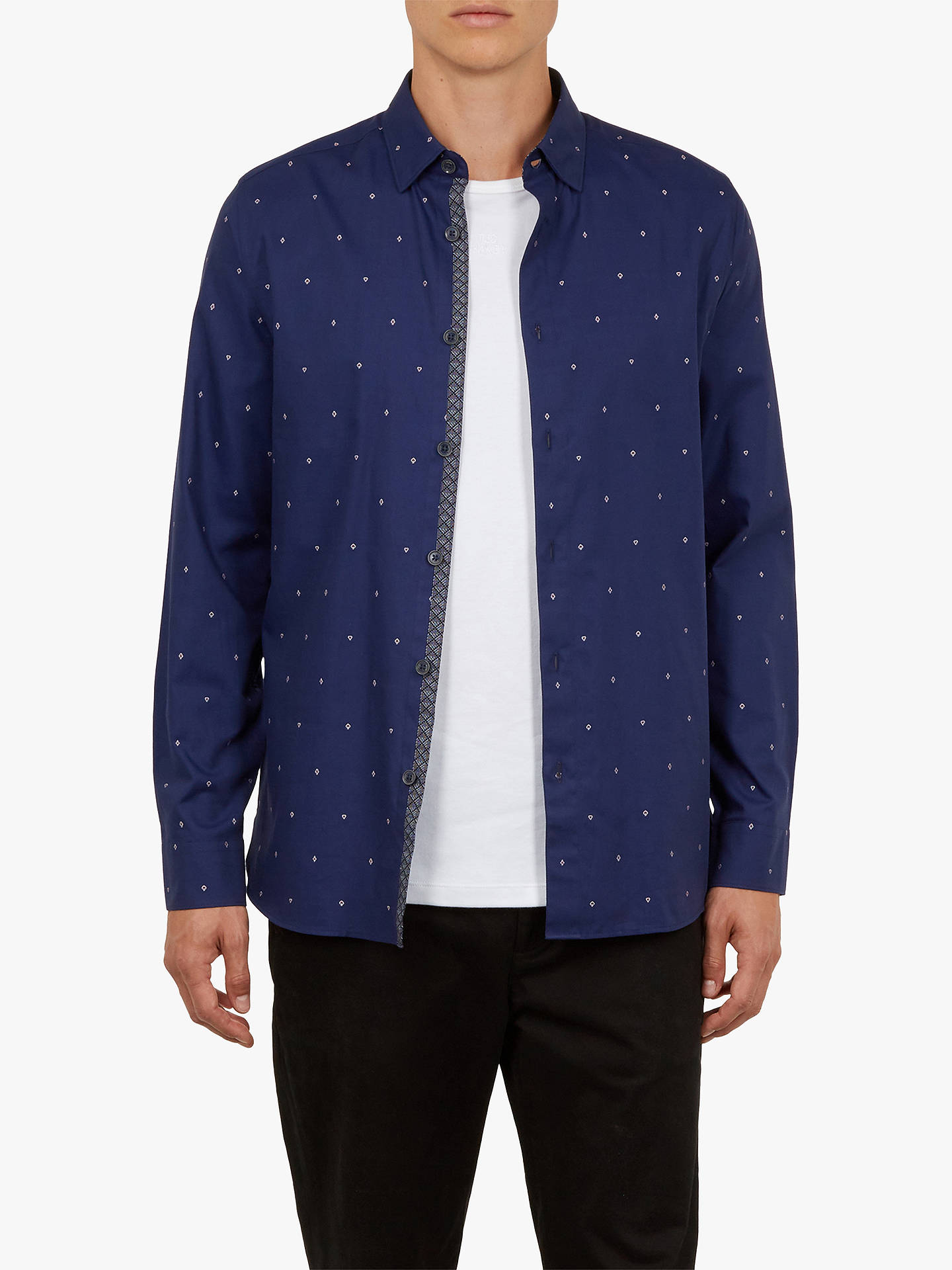 BuyTed Baker Peckham Playing Card Symbol Shirt, Navy, 17.5 Online at johnlewis.com