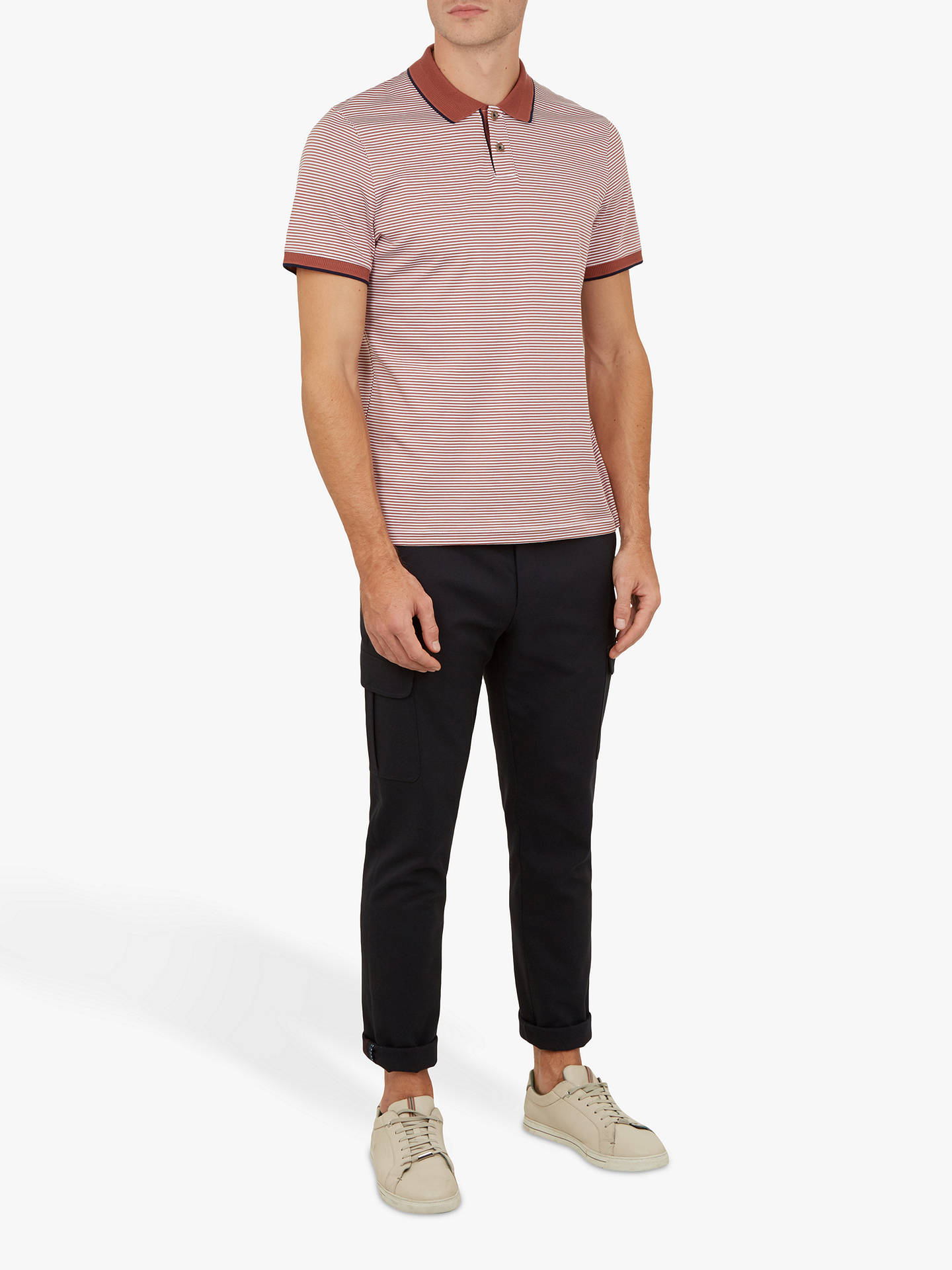 BuyTed Baker Gingen Flat Knit Polo Shirt, Mid Orange, L Online at johnlewis.com