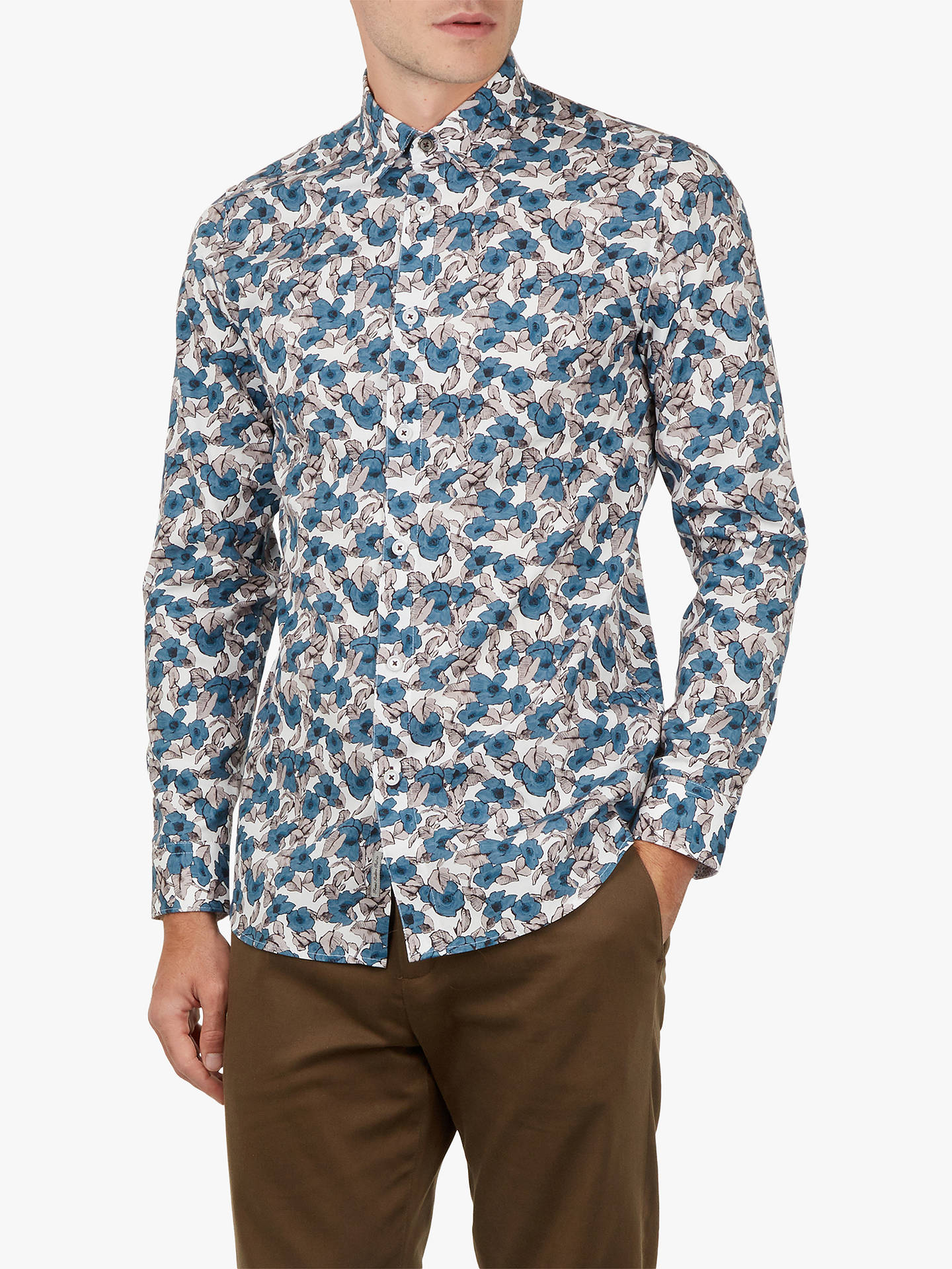 7ab3aaff Buy Ted Baker Croydon Long Sleeve Floral Shirt, Blue, 14.5 Online at  johnlewis.