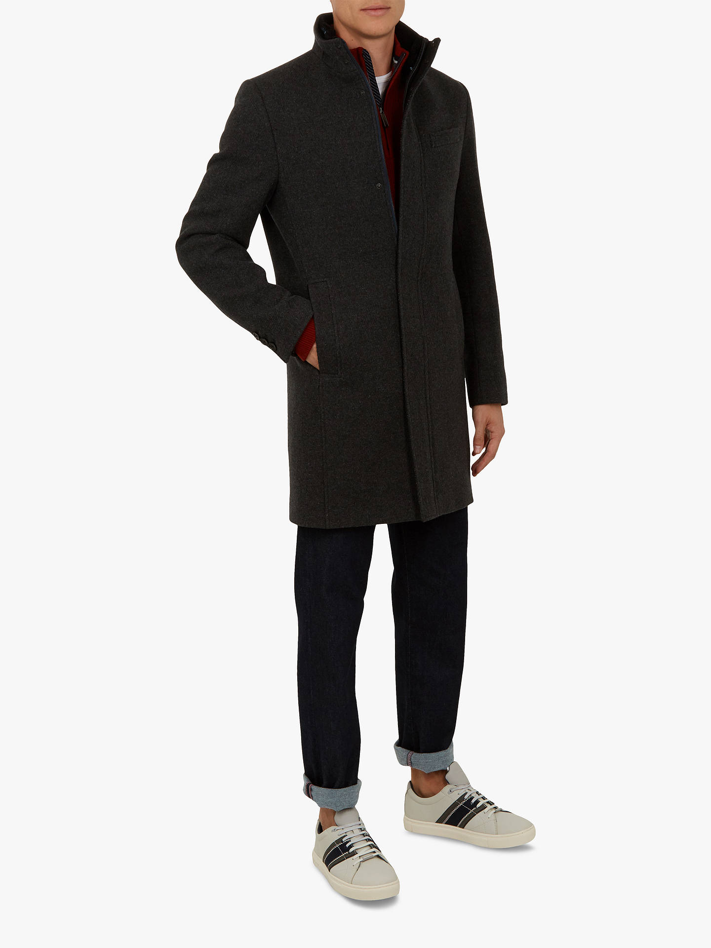 Buy Ted Baker Cheago Funnel Neck Coat, Grey, XXL Online at johnlewis.com