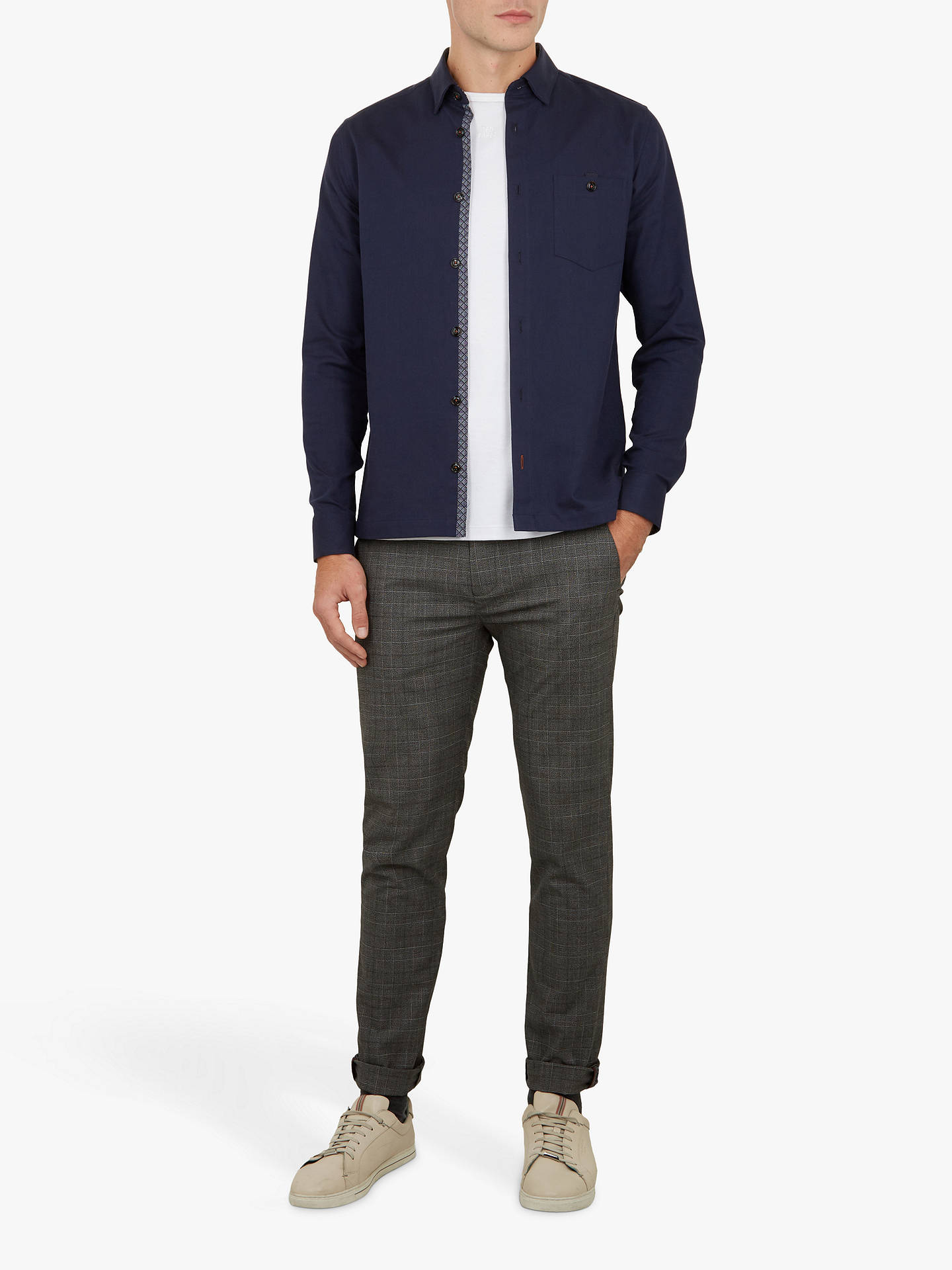 Buy Ted Baker Oxfords Long Sleeve Overshirt, Navy Blue, 17 Online at johnlewis.com