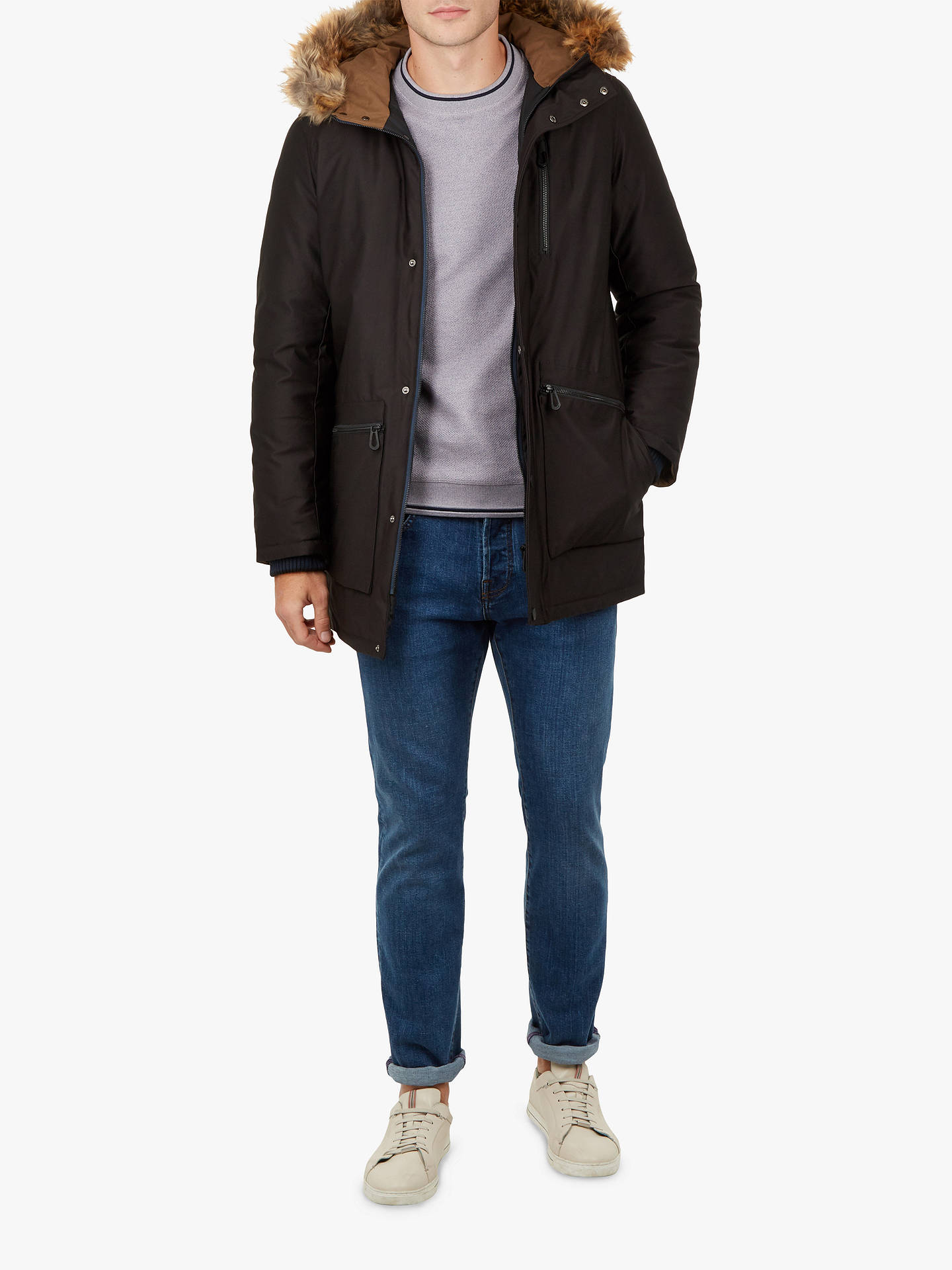 Buy Ted Baker Gouda Faux Fur Hooded Parka, Black, XXL Online at johnlewis.com