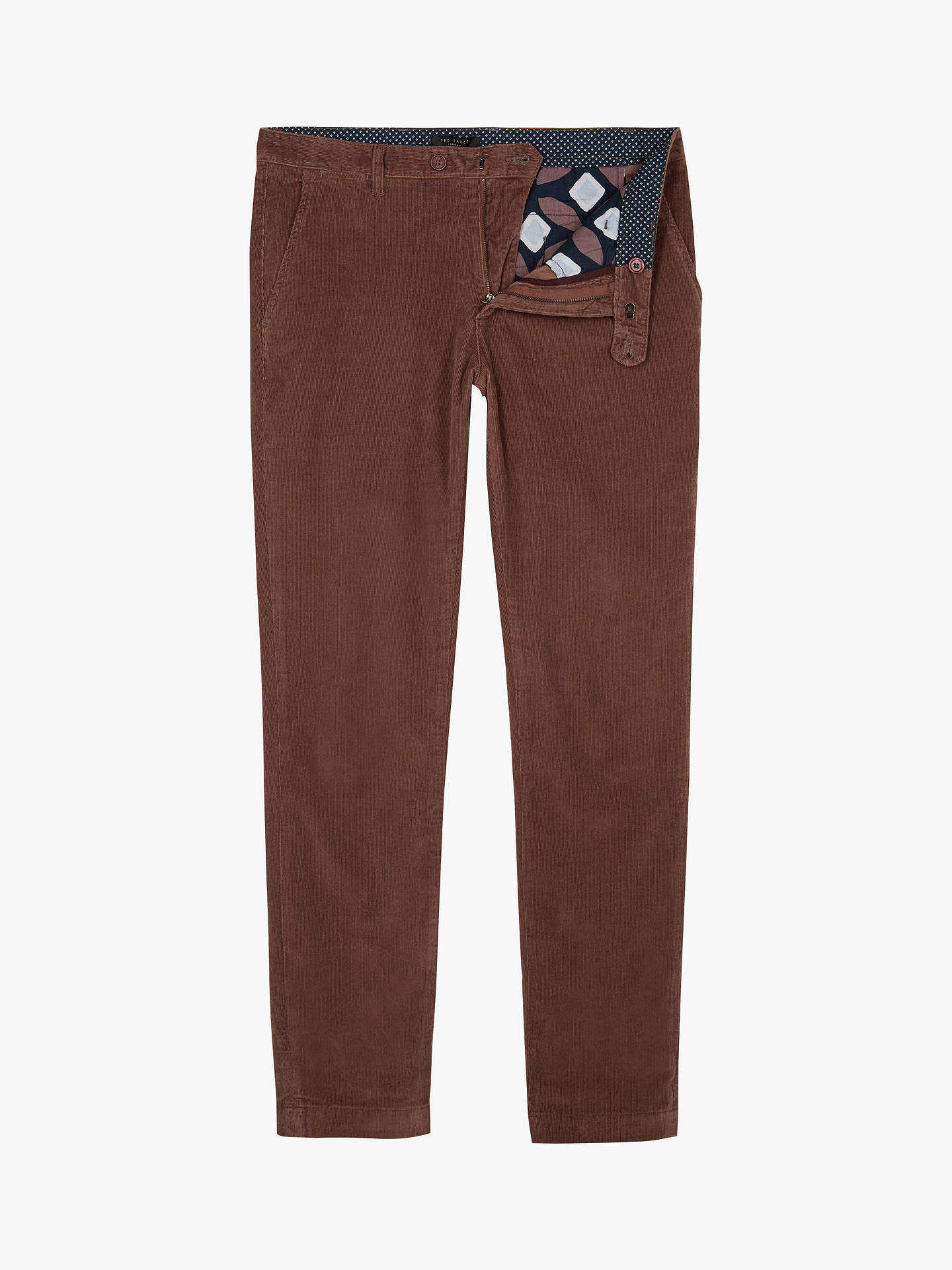 Buy Ted Baker Cordtro Cord Trousers, Mid Pink, 34L Online at johnlewis.com
