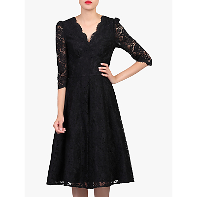 Jolie Moi Puff Shoulder V-Neck Lace Dress, Black