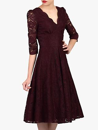 Jolie Moi Puff Shoulder V-Neck Lace Dress, Burgundy