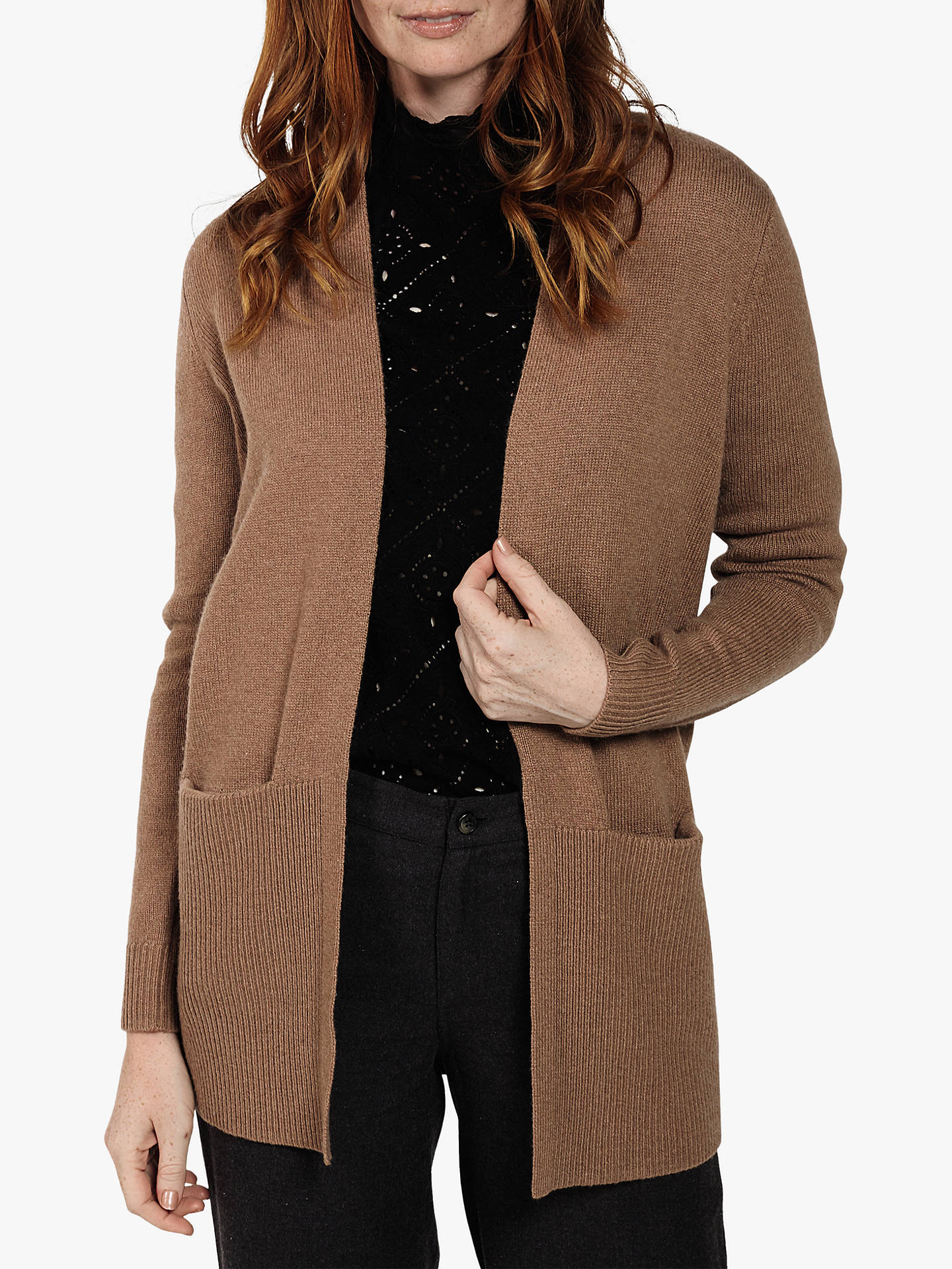 Fat Face Copper Edge Cardigan, Chocolate at John Lewis