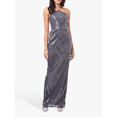 Product photo of Adrianna papell pleated sequin maxi dress grey
