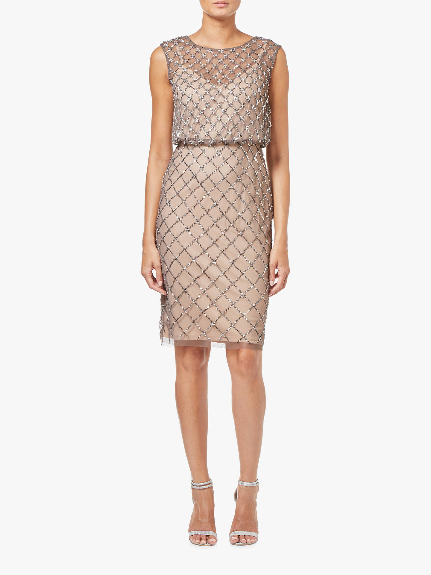 Buy Adrianna Papell Beaded Tulle Overlay Dress, Lead/Nude, 6 Online at johnlewis.com