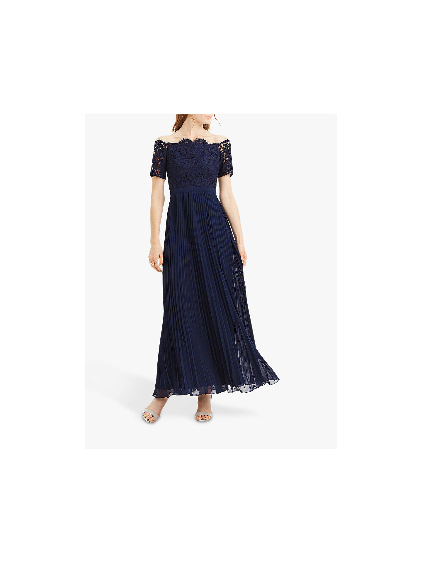 8f5689306413 Buy Oasis Lace Bardot Dress, Navy, 8 Online at johnlewis.com ...