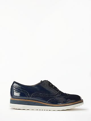 Boden Nina Flatform Lace Up Brogues, Navy Patent Leather