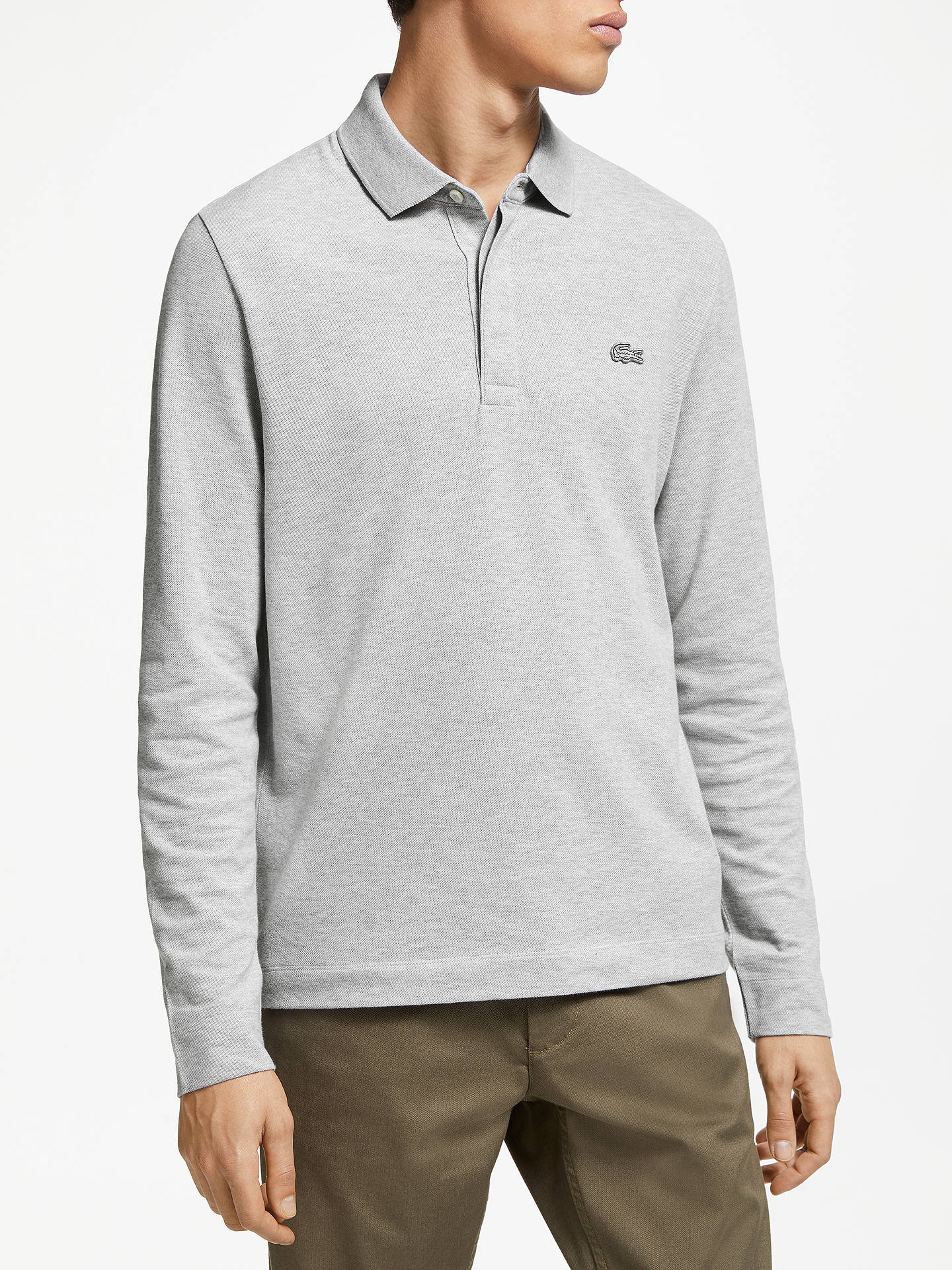 097021bf Lacoste Long Sleeve Paris Polo Shirt, Argent Chine at John Lewis ...