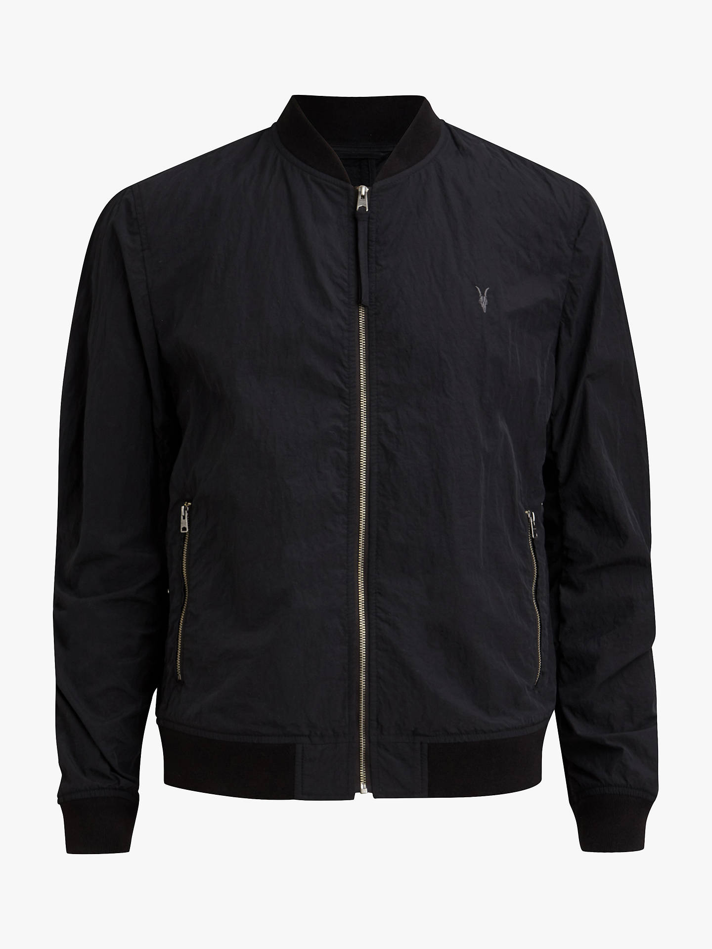BuyAllSaints Fleet Bomber Jacket, Black, L Online at johnlewis.com