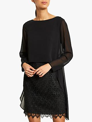 Mint Velvet Lace Cape Layer Dress, Black