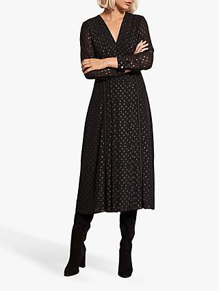 efe37b151ecf Mint Velvet Metallic Spot Midi Dress