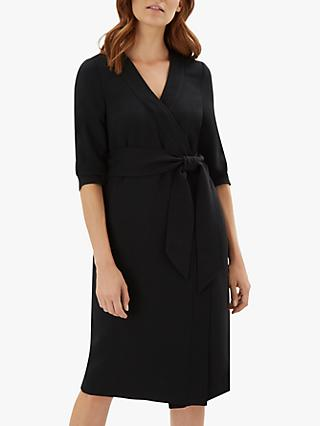 Jaeger Plain Wrap Shift Dress, Black